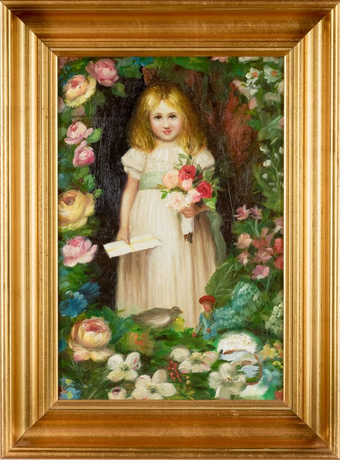 PORTRAIT OF A YOUNG GIRL SURROUNDED BY FLOWERS, OIL ON