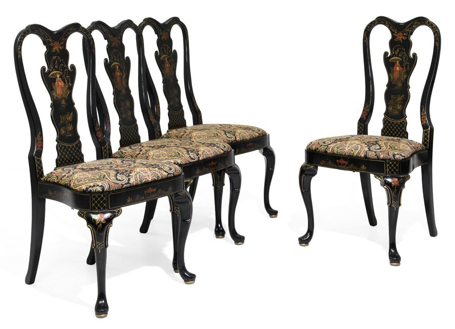 A SET OF FOUR GEORGE II STYLE CHINOISERIE CHAIRS