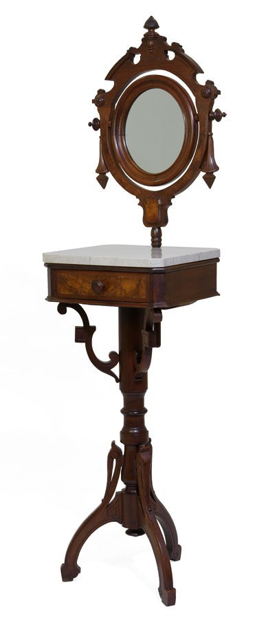 A VICTORIAN MARBLE TOP SHAVING STAND
