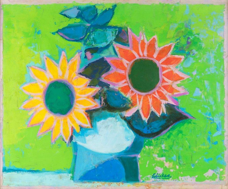 DAVID ADICKES, (American, b. 1927), Sunflowers, Oil on