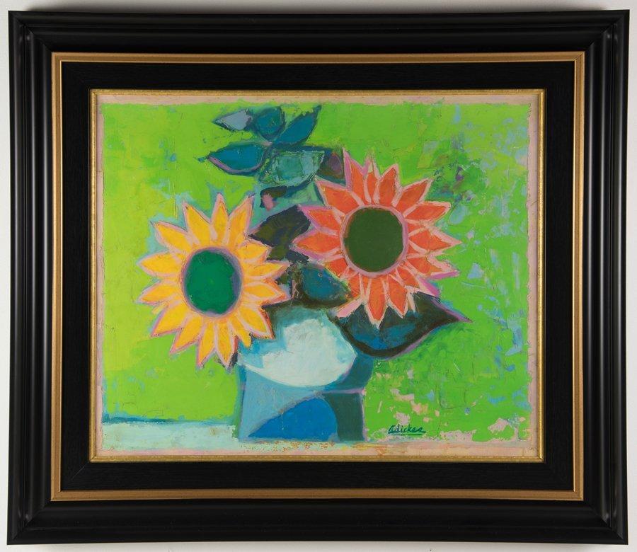 DAVID ADICKES, (American, b. 1927), Sunflowers, Oil on - 2