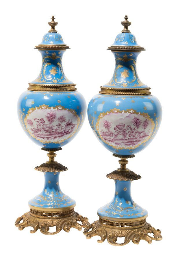 A PAIR OF FRENCH ORMOLU MOUNTED SEVRES STYLE PORCELAIN