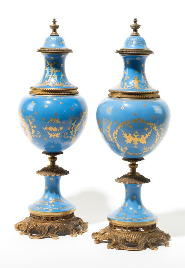 A PAIR OF FRENCH ORMOLU MOUNTED SEVRES STYLE PORCELAIN - 2