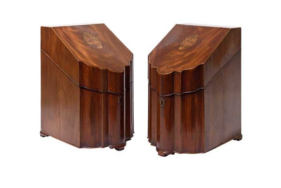 A PAIR OF GEORGE III MAHOGANY AND MARQUETRY INLAID