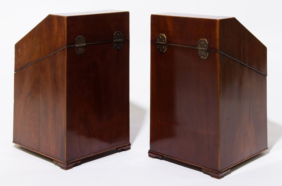 A PAIR OF GEORGE III MAHOGANY AND MARQUETRY INLAID - 2