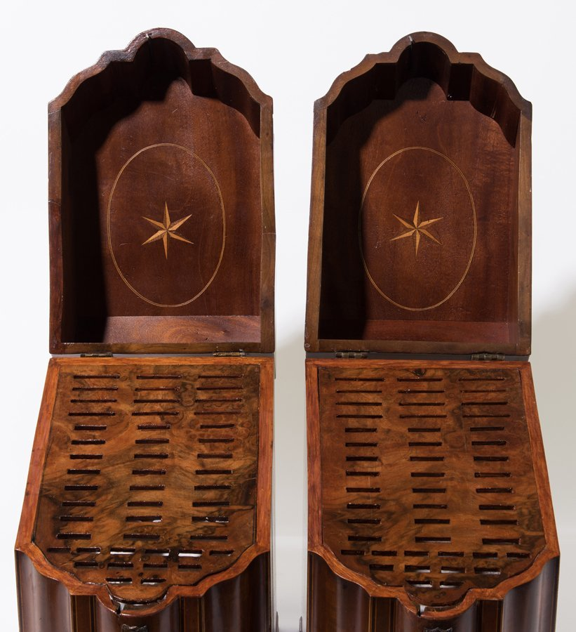 A PAIR OF GEORGE III MAHOGANY AND MARQUETRY INLAID - 3