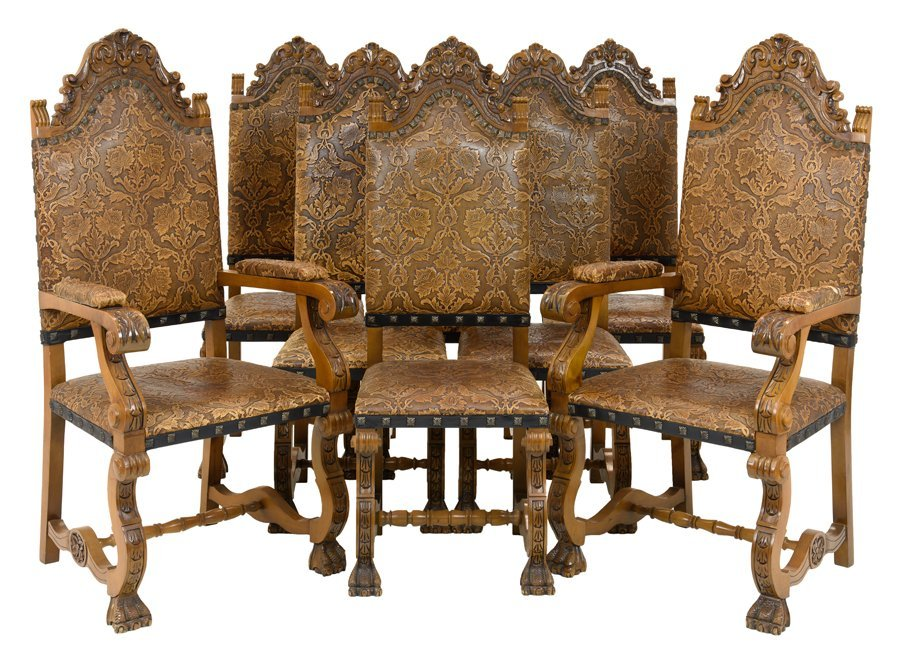 A SET OF EIGHT RENAISSANCE REVIVAL STYLE TOOLED LEATHER