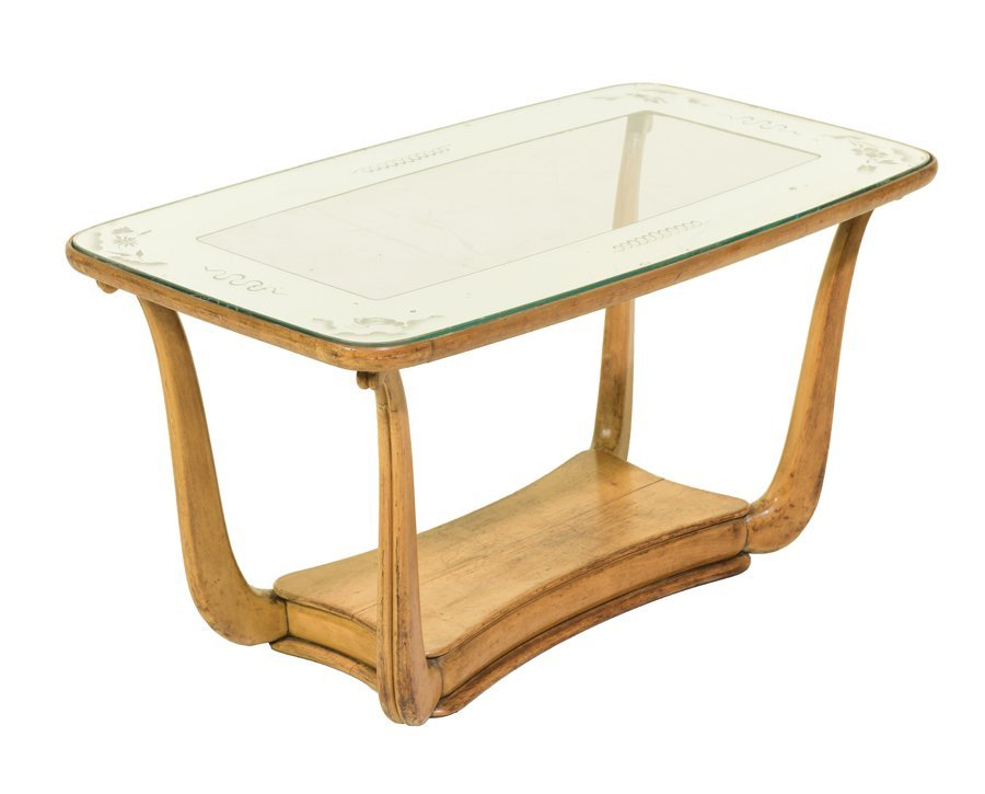 AN ITALIAN ART NOUVEAU STYLE ETCHED GLASS LOW TABLE
