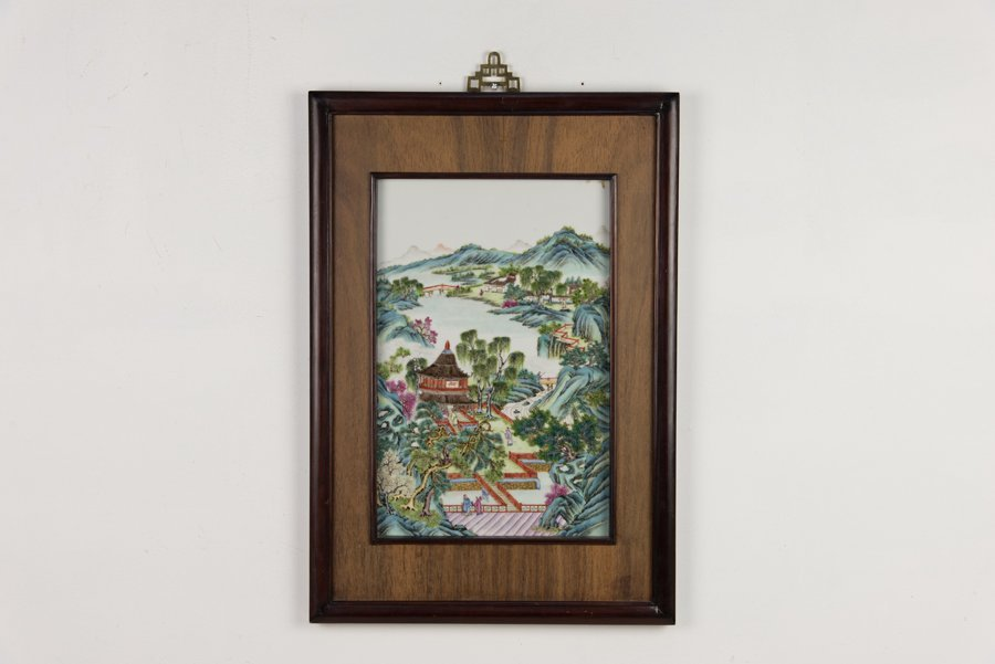 A CHINESE PORCELAIN FAMILLE ROSE PLAQUE - 3