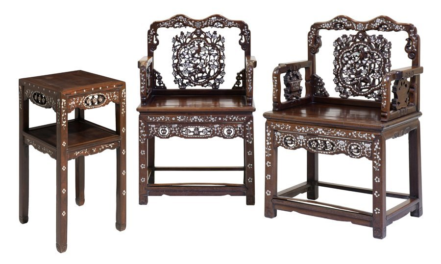 A PAIR OF CHINESE ARMCHAIRS WITH AN OCCASIONAL TABLE