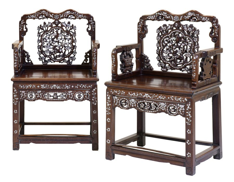 A PAIR OF CHINESE ARMCHAIRS WITH AN OCCASIONAL TABLE - 2