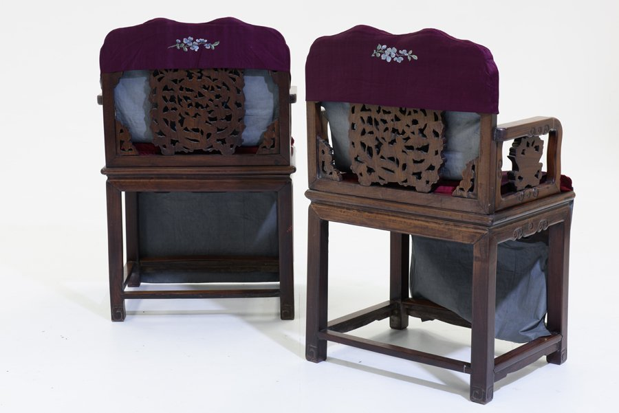 A PAIR OF CHINESE ARMCHAIRS WITH AN OCCASIONAL TABLE - 9
