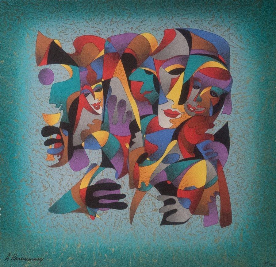 ANATOLE KRASNYANSKY, (Russian, b. 1930), Faces of Joy - 2