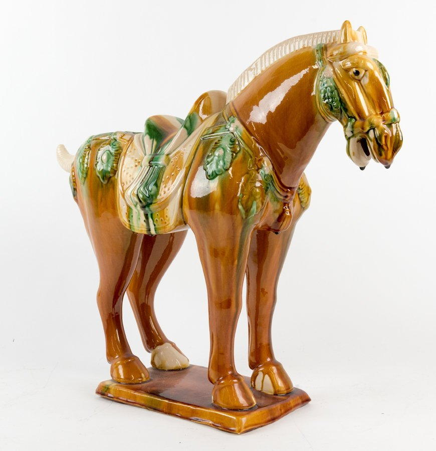 A CHINESE SANCAI MODEL OF A HORSE IN THE TANG STYLE