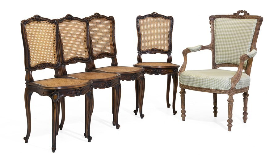 A LOUIS XVI STYLE ARMCHAIR AND FOUR LOUIS XV STYLE