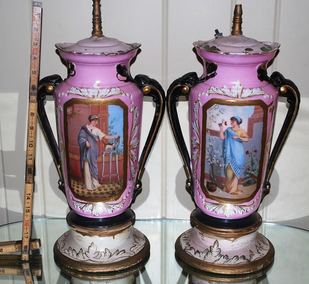 Pair Old Paris Vases made into Lamps