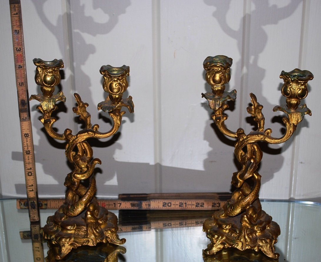 Pair Cast Metal Candlesticks