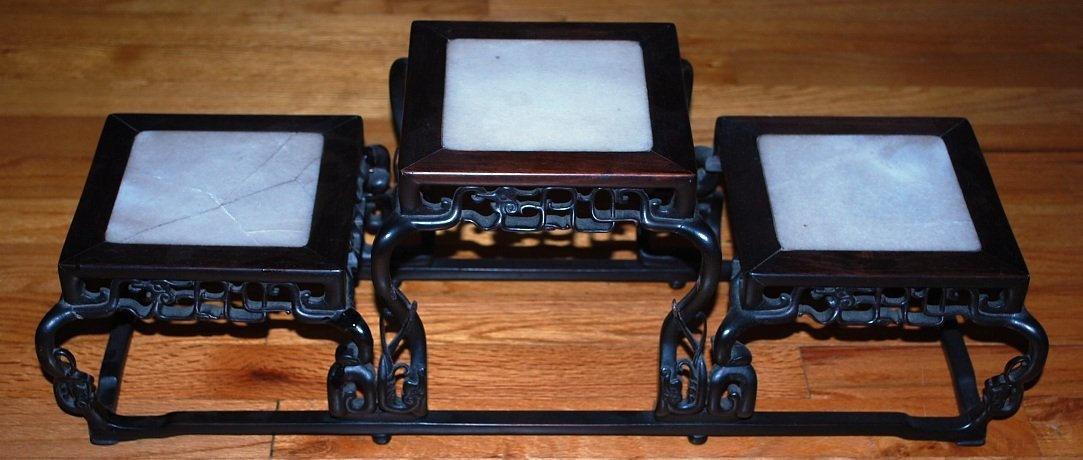 Carved Oriental Rosewood Tri Pedestal