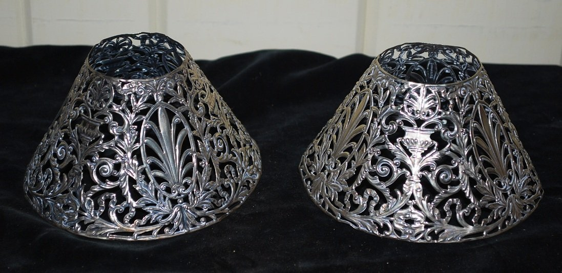 Pair Silver Antique Candle Shades