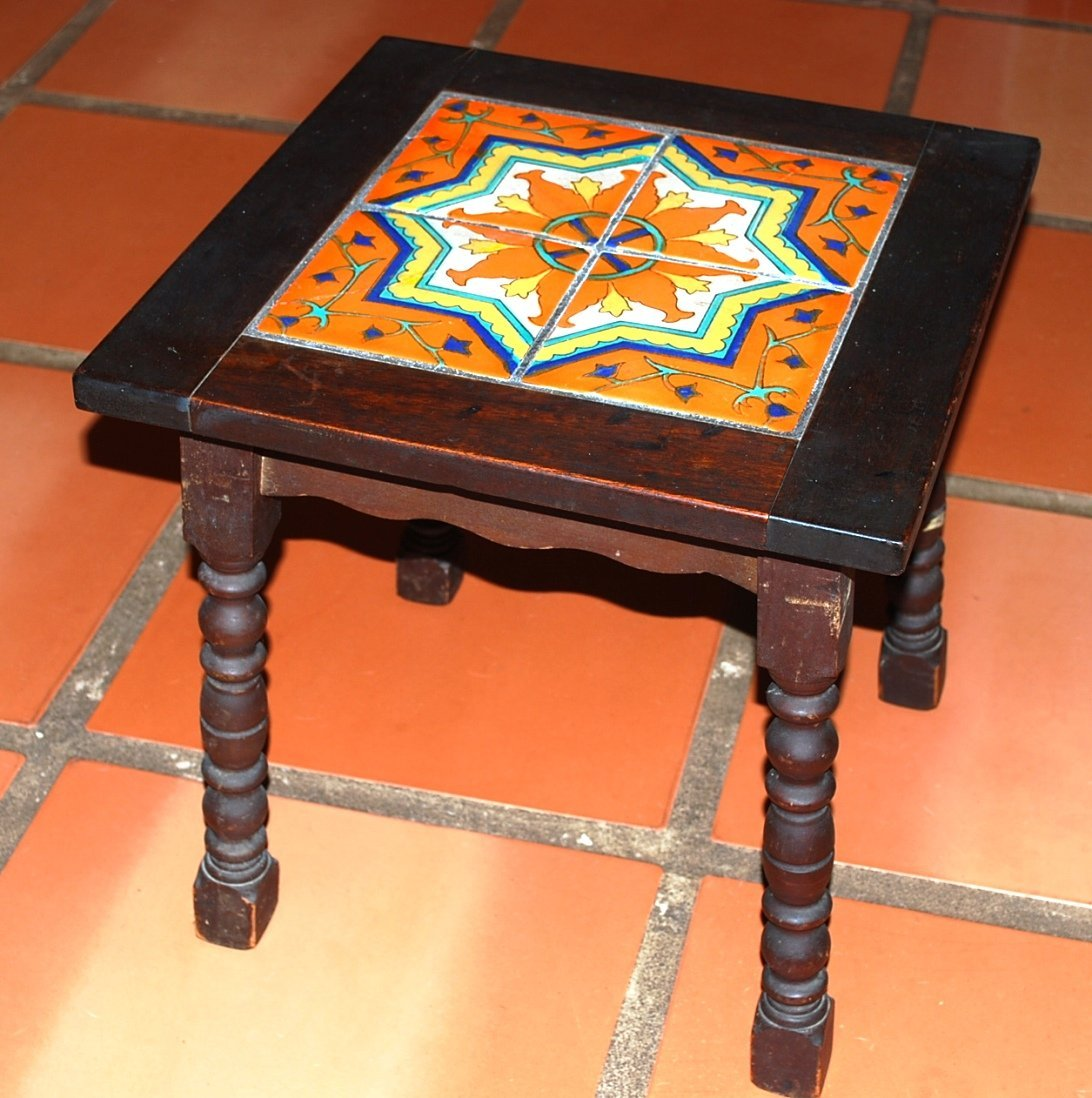 Mahogany California Tile Top Table