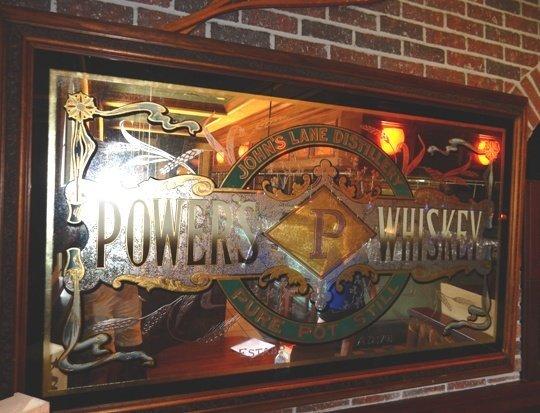 Antique Pub Mirror Powers P Whiskey