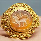 Lion Agate Old Roman 22k Gold Ring Intaglio  Stone