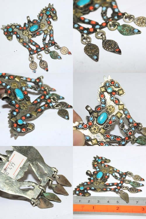 Charming  Superb Turquoise  Stone Afghan Pendant # 4