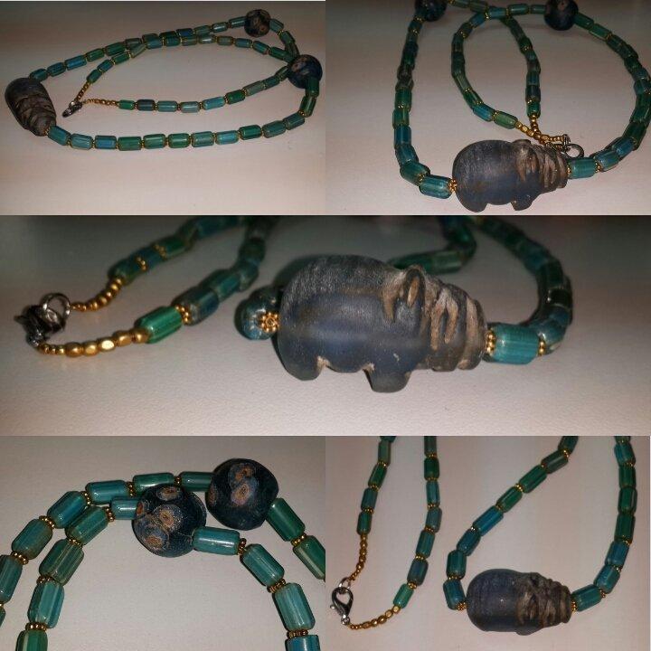 Beautiful Islamic Mosaic Chevron Glas Beads Necklace