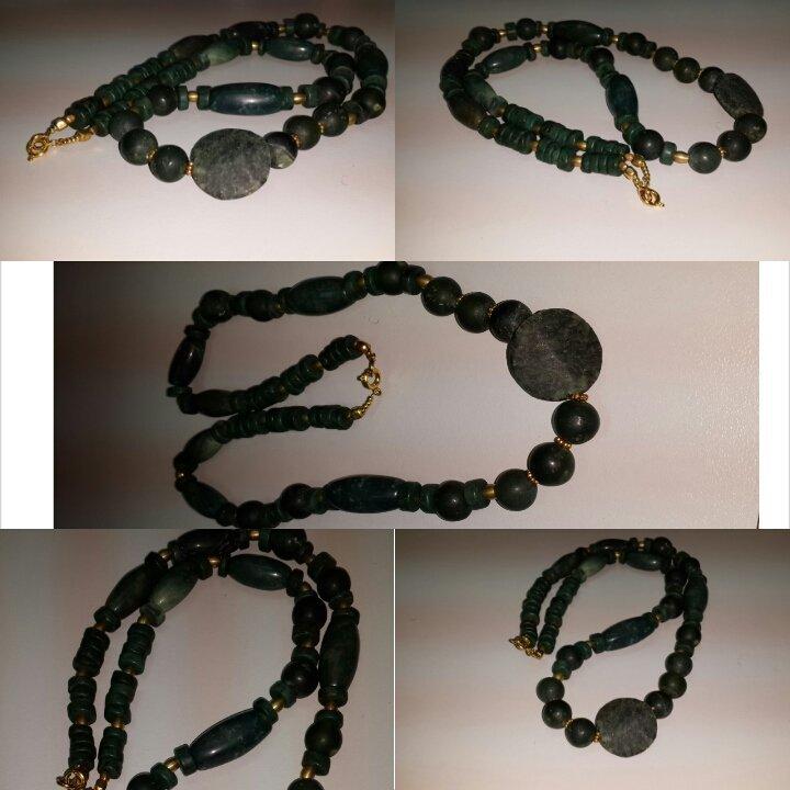 Beautiful Islamic Green Jade Stone  Beads Necklace