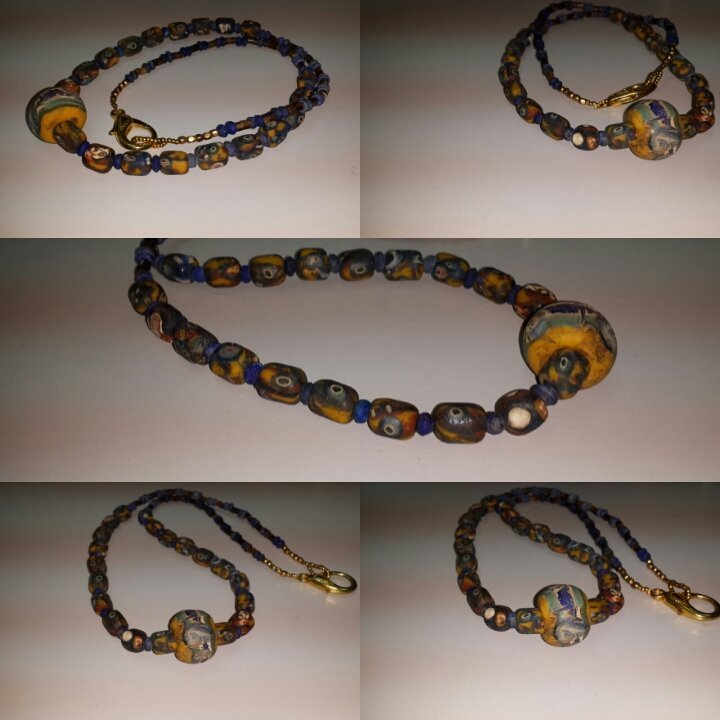 Unique Islamic Style Mosaic Face Glass Beads necklace