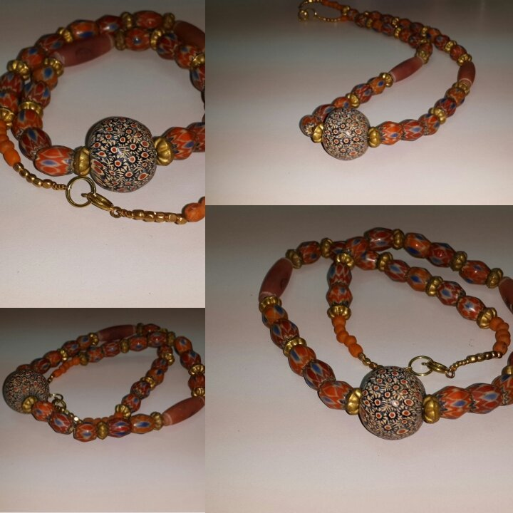 Stunning Islamic Style Mosaic Face Glass Beads necklace