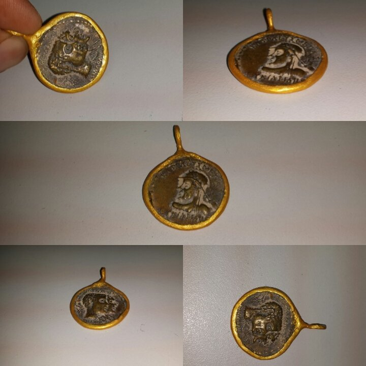 Unique Old  Gold plated Pendant  with Coin .