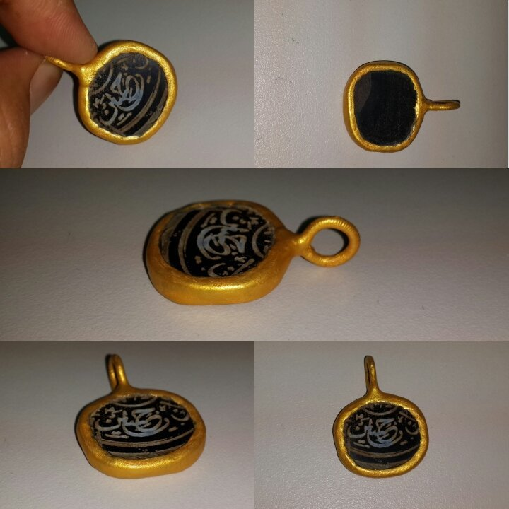 Lovely Islamic Agate Writing Stone Gold plated Pendant