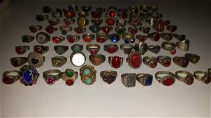 Lot of 100 Old Rings With Ancient Stones , Glass
