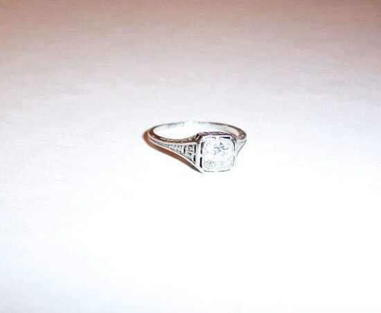 8: White Gold and Diamond Solitaire Ring