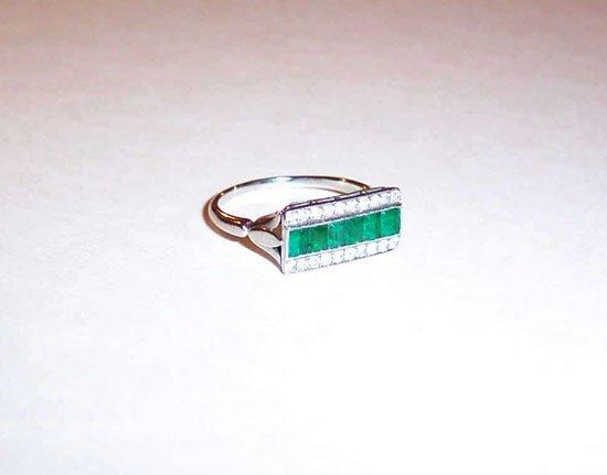 9: White Gold Emerald and Diamond Band