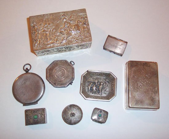 17: GROUP OF SILVER AND SILVER-PLATE PILL BOX