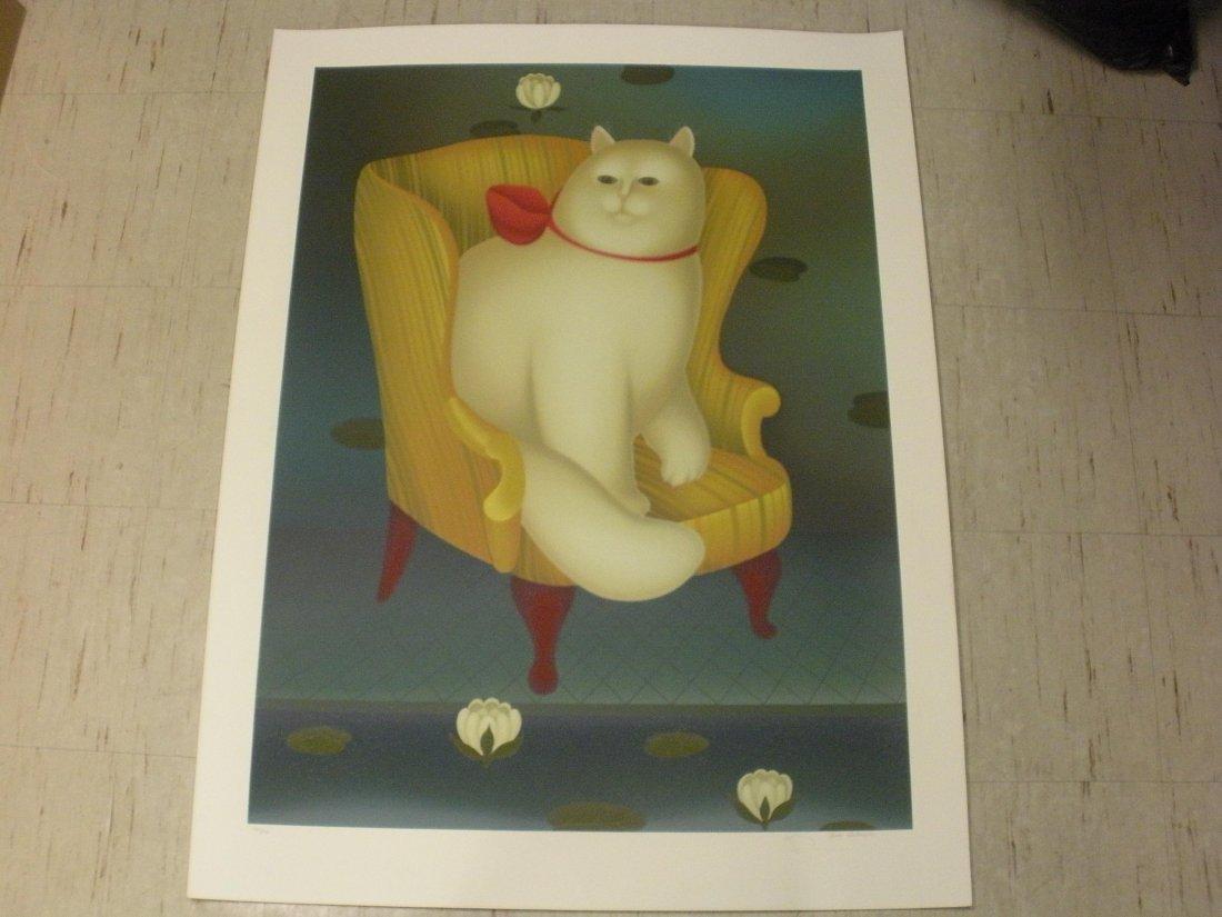 White Cat in Wing Chair - Igor Galanin