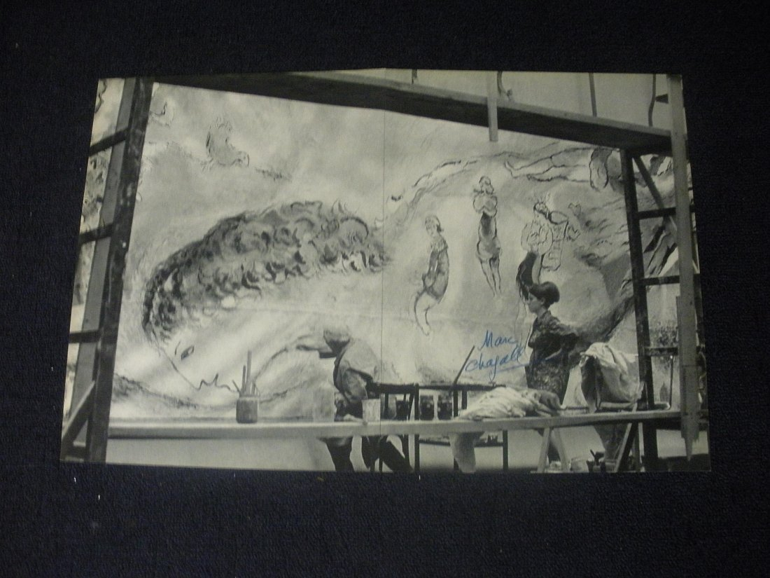 black and white book page hand signed by Marc Chagall