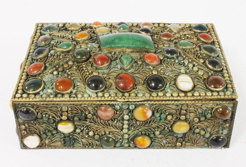 Jewelry Box w/ Assorted Semi-Precious Stones from India
