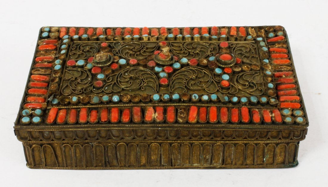 Jewelry Box with Coral and Turquoise Stones