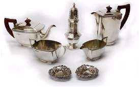 STERLING SILVER TEASET SUGAR SIFTER CASHEW TRAYS