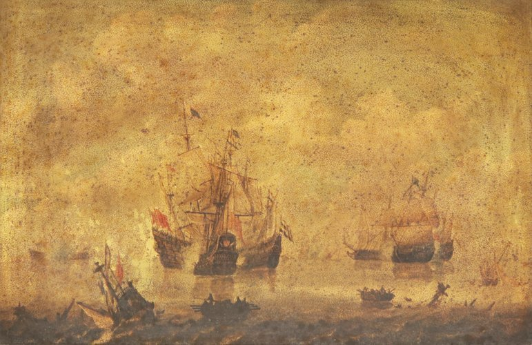 Wooding Painting Galleon Boat