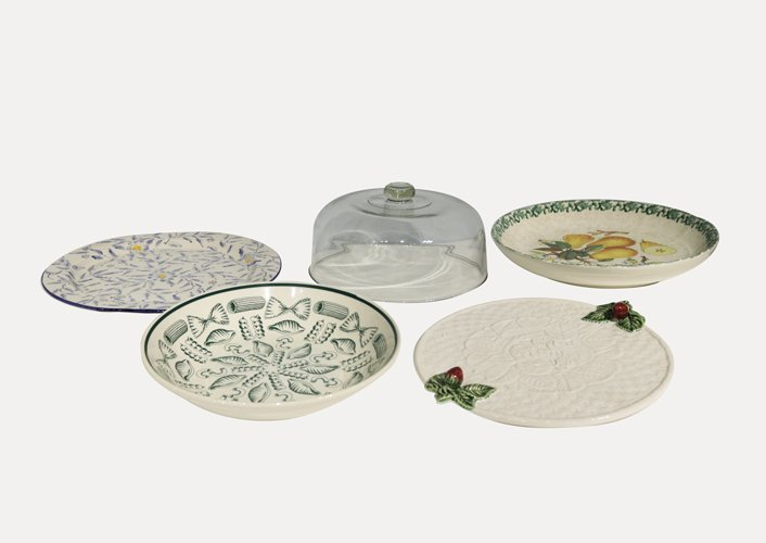 Assorted Ceramic Plates and One Glass Pot