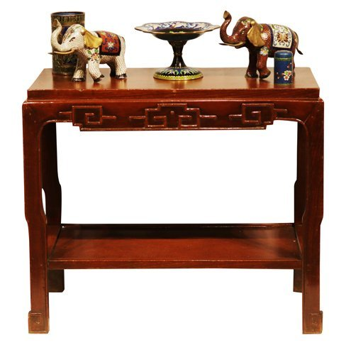 Chinese Wood Table with Collectibles