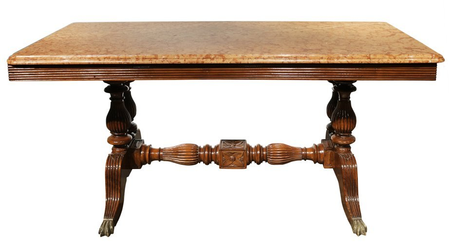 English Table with Marble Top