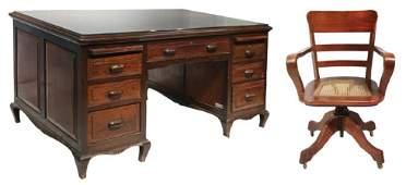 Art Deco Office Desk Heavy Duty with Arm Chair