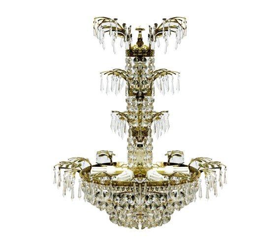 Brass and Art Glass Chandelier w/ Leaflike Decorations