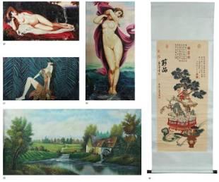 Lot Comprised of Five Unframed Artworks