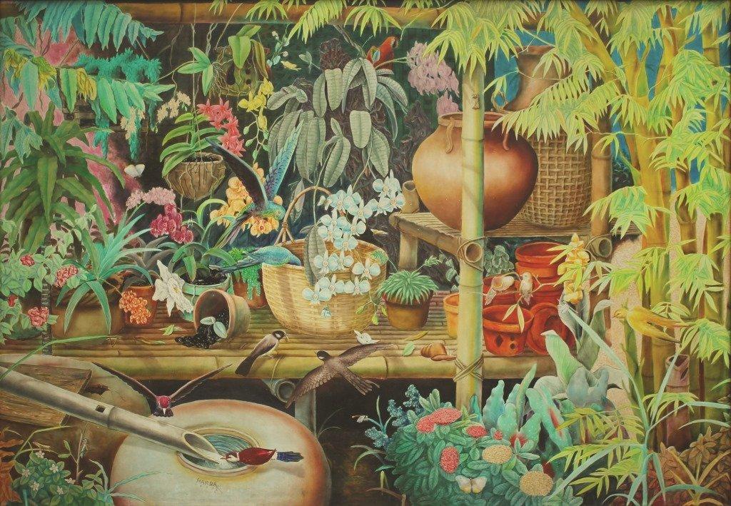 """Harlem Barilea 1955 """"Flower Garden"""" 1987 Signed and"""